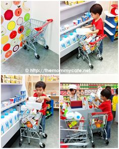 The City Supermarket Kids Play Store, Play Grocery Store, Pretend City, Kids Church Decor, Daycare Spaces, American Girl Doll Room, Soft Play Area, Supermarket Design, Kids Play Kitchen