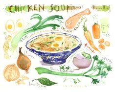 Kitchen art print - Chicken soup recipe poster - Jewish penicillin watercolor painting - Food art
