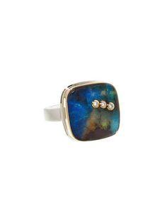Jamie Joseph - Boulder Opal Ring with Diamond Triplet