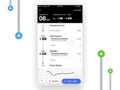 Public transport - route screen designed by Radek Skrzypczak. Connect with them on Dribbble; Mobile Ui Design, App Ui Design, User Interface Design, Responsive Web Design, Ui Web, Bus App, Portfolio Web Design, Mobile App Ui, Web Layout