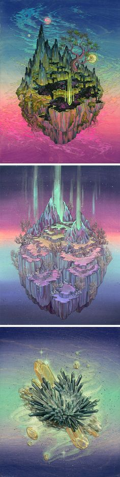 Crystalline Worlds Suspended in Space Painted by Nicole Gustafsson