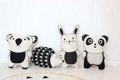 Rabbit Cushion Pillow Screen Print Monochrome Nursery Decor - Ready to Post