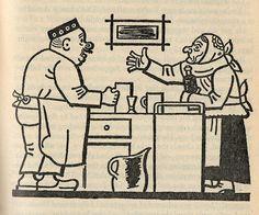 "Josef Lada – Illustration for Jaroslav Hašek's ""The Good Soldier Švejk and His Fortunes in the World War,"" 1924 The Good Soldier Svejk, World War One, First Novel, Book Illustration, Illustrators, Fairy Tales, Sketches, Clip Art, Good Things"