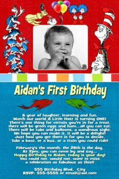 first birthday dr seuss   Dr Seuss First 1st Birthday Invitation   Flickr - Photo Sharing!