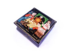 Russian lacquer box Lacquer miniature Palekh Painted trinket box Russian folk art Hand-painted box Black jewelry box Russian fairy tale by RussianFables on Etsy https://www.etsy.com/listing/263137807/russian-lacquer-box-lacquer-miniature