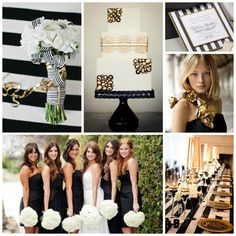 Black, white, and gold wedding. omg. my MU fan boyfriend would love this.