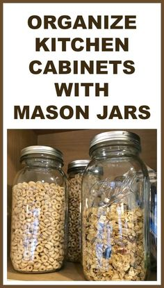 Easily and inexpensively organize your kitchen. Recycle, repurpose and thrift your way to organization. Homeroad.net #recycle #organize #kitchen #masonjar #masonjarcrafts #kitchenorganiization #pantry #pantryorganization