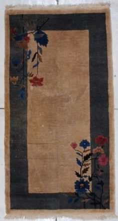 ANTIQUE-ART-DECO-CHINESE-ORIENTAL-RUG-7045-3X6