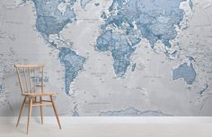 The World in Blue Map Wall Mural, custom made to suit your wall size by the UK's No.1 for wall murals. Custom design service and express delivery available.