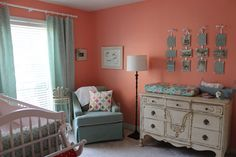 coral nursery | Coral and Aqua Nursery | Baby Girl Room