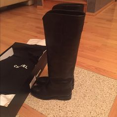 Chanel Black Leather Ascot Boots Brand new in box! Receipt provided upon request. Paid $1,750 plus tax! CHANEL Shoes Winter & Rain Boots