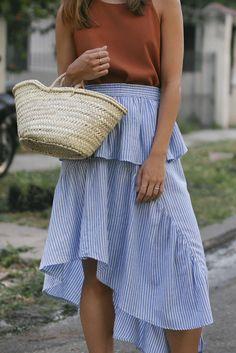 Nisi is wearing: Straw bag, striped skirt with volants, Céline Baby Audrey sunglasses, Nina Kastens Stella Earrings, Hermès Oran sandals - teetharejade.com