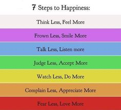 Inspiring Words - Seven steps of happiness - some things to think about . . . .