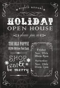 sixteen sunbuckles: {invitation} The Blu Poppie // Annual Holiday Open House // eat drink and be merry