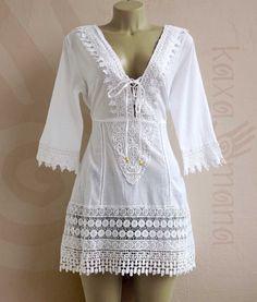 Beach Dresses, Casual Dresses, Summer Dresses, Boho Outfits, Fashion Outfits, Womens Fashion, White Boho Dress, Saree Blouse Designs, Dress Patterns