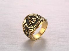 Hot Vintage Mason Mason Gold Plated Signet - Free Masonic Ring RING - Masonic Jewelry Free Masonic Ring - FreeMasonicRing.com