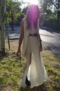 maxi dress and vest