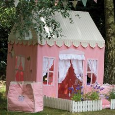 Garden, : Cheerful Pink House Tent Shape Garden Playhouses For Children With White Fence And Plants