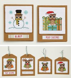 FREE Christmas card and tag downloads | Cross Stitcher.  Ohhh, I love the snowowl!!!