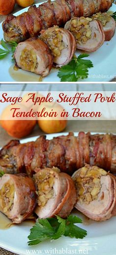 Only 7 Ingredients in this Sage Apple Stuffed Pork Tenderloin in Bacon ! Only 7 Ingredients in this Sage Apple Stuffed Pork Tenderloin in Bacon ! Juicy, tender and bursting with flavor ~ and the BEST part = all wrapped in Bacon ! Bacon Wrapped Pork Tenderloin, Pork Tenderloin Recipes, Apple Stuffed Pork Tenderloin, Pork Loin, Pork Tenderloins, Stuffed Pork Roast, Stuffed Chicken, Bacon Recipes, Cooking Recipes