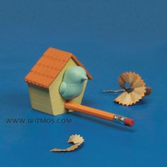 $6.00 - Birdhouse Pencil Sharpener -   Your pencil becomes the perch on this adorable Birdhouse shaped Pencil Sharpener. A cute and clever spin on typical office desk tools.