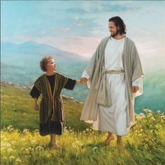 Walk Beside Me by Mark Missman is a beautiful piece of Christian art that depicts Jesus walking hand in hand with one of his favorite people; Lds Art, Bible Art, Christian Images, Christian Art, Tamil Christian, Arte Lds, Jesus Smiling, Lucas 9, Image Jesus