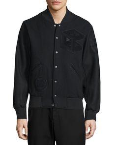 Tristan Snap-Front Varsity Jacket, Black - Opening Ceremony