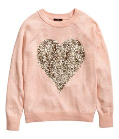 Light pink fine-knit sweater with long sleeves & gold sequin heart. | H&M Pastels