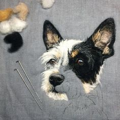 Artist Draws Realistic Portraits Using Embroidery Technique Felt Dogs, Felt Cat, Needle Felted Animals, Felt Animals, Felt Pictures, Needle Felting Tutorials, Wool Art, Felt Birds, Wet Felting