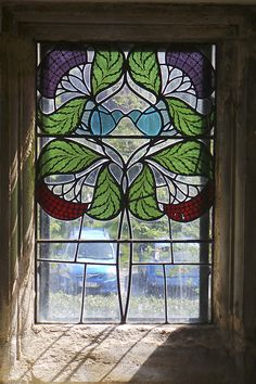 Beautiful Baillie Scott designed stained glass. From my visit to Blackwell at the weekend