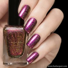 This holographic nail polish of violet, red, copper and gold duo-chrome will give you a look on your nails you won't forget. Fully opaque in 2-3 coats! Collection: New Year 2015 Collection