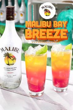 Malibu Bay Breeze recipe: Pour 1 part Malibu Rum, 1 part cranberry juice, and 1 part pineapple juice into an ice-filled glass. Garnish with fresh fruit and a squeeze of lime. Booze Drink, Liquor Drinks, Beverages, Drink Bar, Malibu Cocktails, Cocktail Drinks, Cocktail Tequila, Pineapple Cocktail, Cocktails With Malibu Rum