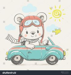 Cute bear driving the car cartoon hand drawn vector illustration. Can be used for t-shirt print, kids wear fashion design, baby shower invitation card. Cartoon Elephant, Baby Cartoon, Cute Cartoon, Illustration Mignonne, Cute Illustration, Baby Shower Invitation Cards, Baby Shower Cards, Dibujos Baby Shower, Cartoon Mignon