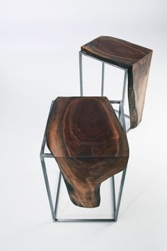 Russell End Tables by AntonMakaDesigns  Live Edge Walnut / Brushed Metal Base CUSTOM SIZING AVAILABLE