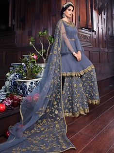 Dark Grey Designer Embroidered Straight Cut Suit with Palazzo Party Wear Indian Dresses, Indian Fashion Dresses, Pakistani Bridal Dresses, Pakistani Dress Design, Indian Designer Outfits, Indian Outfits, Designer Dresses, Pakistani Outfits, Designer Wear