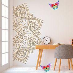 decorbifunow Mandala in Half Wall Sticker, Wall Decal, Decor for Home, Studio, Removable Vinyl Sticker for Meditation, Yoga Wall Art # 11 -  Mandala in Half Wall Decal, Wall Decal, Decor for Home, Studio, Removable Vinyl Decal for Meditatio - #Art #Artists #ceramics #ComicsAndCartoons #decal #decor #home #mandala #meditation #Pottery #removable #sticker #studio #vinyl #wall #Yoga<br> Modern Wall Stickers, Wall Stickers Home Decor, Vinyl Wall Decor, Tall Wall Decor, Wall Stickers Murals, Mandala Mural, Mandala On Wall, Mandala Stencils, Half Walls