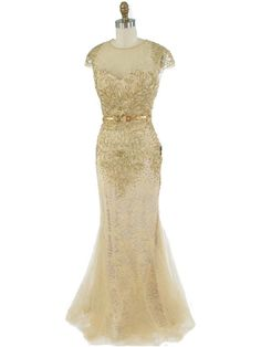 30s Style Hollywood Glamour Embroidered Gold Tulle Lace Gown with illusion bodice #oldhollywoodglamour #vintagewedding #promdresses