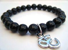 Mens Black Agate OM Bracelet  Wrist mala Yoga Mala by frecklefrog, £15.00