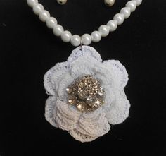 Bridal Necklace-White Crochet Bridal Necklace-Crochet Pearl Necklace-Bridal Accesories