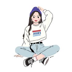 Korean Painting, Cute Kawaii Animals, Art Of Manliness, Cartoon Profile Pictures, Simple Cartoon, Korean Art, Cartoon Art Styles, Illustration Girl, Cute Cartoon Wallpapers