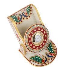 Aatm Desktop Marble Jaipuri Print Watch for Office & Home with Pen Stand Pen Stand Online, Corporate Gifts, Handicraft, Home Office, Desktop, Marble, India, Watch, Amazon