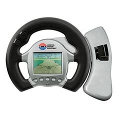 """3 in 1 Car racing game features interactive steering with acceleration, brakes, realistic gear shift and vibrates on bumps and crashes. Select from 10 different routes. Uses 2 AA batteries (not included). Not intended for use by children 12 years or younger.  6"""" W x 8"""" H x 1 5/8"""" D"""