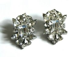 1940s Rhinestone Earrings Vintage Clip On Glam by CalloohCallay, $28.00