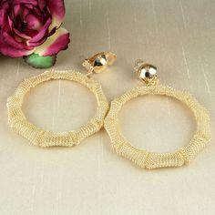 E14 Large CLIP ON Gold Tone Mesh Hoop Earrings - Non Pierced Ears  - Giftpouch
