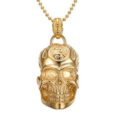 Gold Plated Skull Necklaces Punk Style