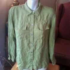 I just added this to my closet on Poshmark: Chico's 100% Silk Shirt 1 Moss Sage Green. Price: $16 Size: 1 Chico's