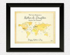 Long Distance Gift for Mom, Mother's Day Gift Print, Moving Away Gift for Mom, Mother and Daughter Quote Canvas, World Map Art Print by KeepsakeMaps on Etsy