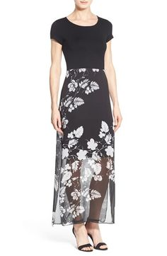 Vince Camuto Floral Chiffon Overlay Maxi Dress (Regular & Petite)