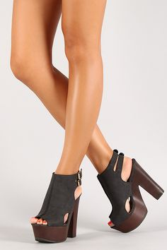 Buckle Slingback Cut Out Peep Toe Platform Heel