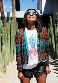 Pineapple top, pineapple tee, embellished jacket, summer, mirror glasses, Sincerely Jules, Sincerely Jules lookbook, Sincerely Jules shop, spring summer 2014